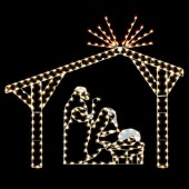 11' x 14' NATIVITY STABLE w/MARY, JOSEPH & JESUS